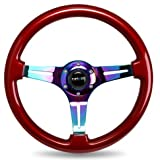 NRG Innovations ST-015MC-RD Classic Wood Grain Wheel (350mm 3 Neochrome spokes - Red grip)