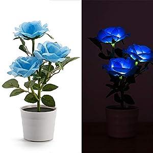 Solar Rose Bonsai, WensLTD Solar Rose Flower Lights LED Artificial Rose Pot Flower Bonsai LED Lamp Home Decors 64