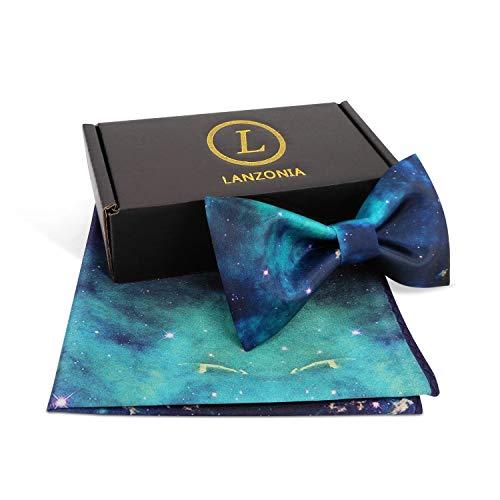 (Lanzonia Men's Galaxy Print Satin Bowtie and Pocket Squares Bow Tie Set)