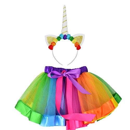 Sparkling Rainbow Tutu Skirt and Unicorn Headband Outfit For Girls 2T, 3T,4T,5T,6T,7T Birthday Party Costumes -