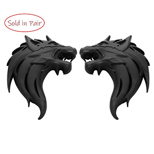 UpAuto 2pcs Cool Wolf Head Car Side/Rear/Front Decorations Badge Emblem 3D Self-Adhesive Nameplate Sticker for Car (Black) by UpAuto
