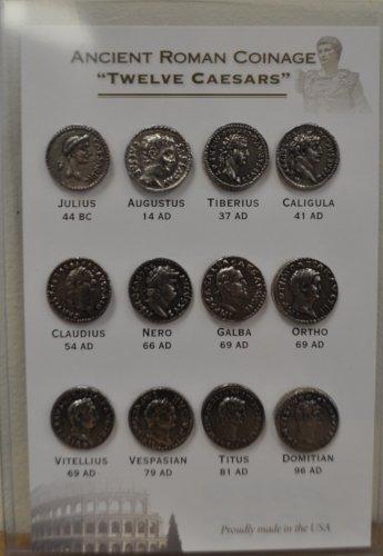 "Replica Ancient Roman Coinage ""Twelve Caesars"" -- Coin Set - (Ancient Coins Roman Silver)"