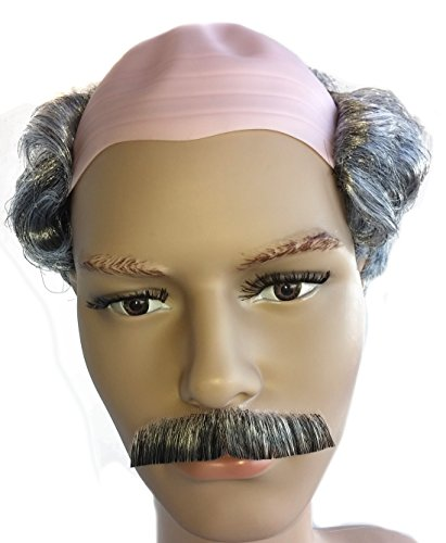 (City Costume Wigs Grey Balding Old Man Wig with Hair and Mustache for Adults and)