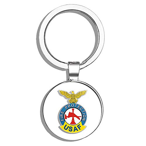 HJ Media USAF FIRE Protection Logo (air Force Firefighter Insignia) Metal Round Metal Key Chain Keychain Ring