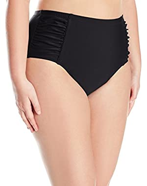 Jessica Simpson Women's Plus Size Solid Shirred High Waisted Bottom