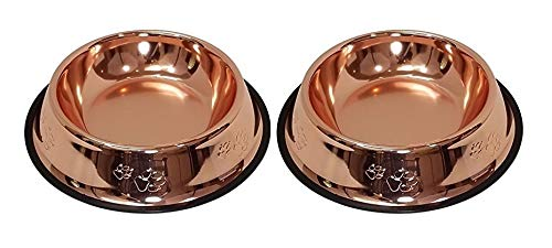 Melzon Petsentials Non-Skid Stylish Food Bowl for Your Pet, Premium Grade Stainless Steel - Elegant Bronze | Small, 18oz (2 Pack)