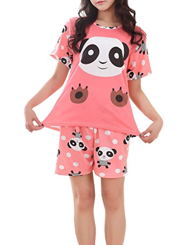 Summer Pajamas Shorts (MyFav Big Girls Summer Shorts Pajama Cute Panda Sleepwear Lovely Child Loungwear, Pink, Medium)