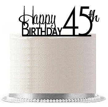 Price comparison product image CakeSupplyShop Item AE-149 Happy 45th Birthday Agemilestone Elegant Cake Topper