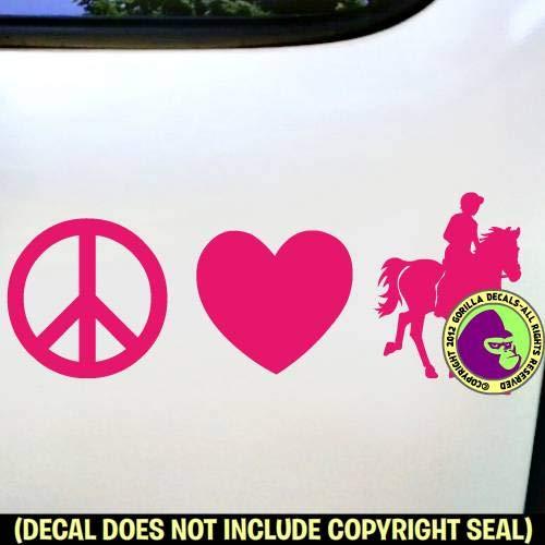 PEACE LOVE ENDURANCE Riding Horse Rider Distance Vinyl Decal Sticker D
