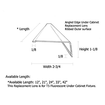 "33"" Lens Diffuser Under Cabinet Replacement Cover 2-3/4"" x 1-1/8"" x 33"" Angled Edge"