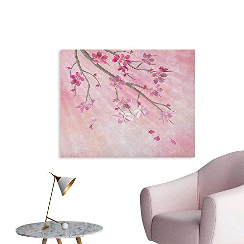 Anzhutwelve Nature Wall Sticker Decals Illustration of Spring Tree Branch with Blossoms Sun Beams on Blurred Background Art Poster Pink Fuchsia W36 xL32