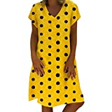 Women Dresses V Neck Short Sleeve Polka Dot Loose Casual Mini Dress (S, Yellow)