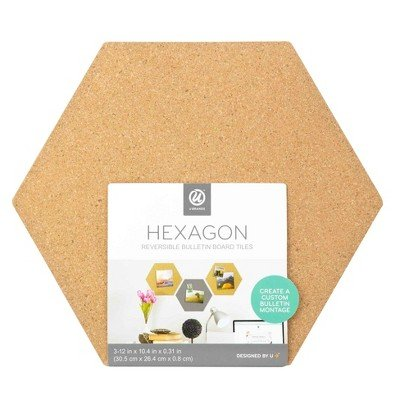 UBrands174; Reversible Cork Hex Tiles 3ct Brown