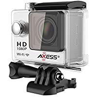 AXESS CS3605SL 1080p Full HD Wide Angle Lens Sports and Action Camera with Waterproof Housing, Accessories and Built-in WiFi Control (Silver)