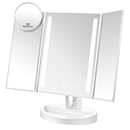 -[ Jerrybox Trifold LED Lighted Makeup Mirror Touch Screen USB Charging with 16 Natural LEDs 180&de
