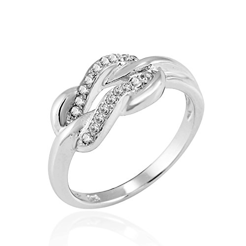 Chuvora 925 Sterling Silver Sparkling CZ Infinity Forever Love Knot Promise Ring - Nickel Free Size (Best Chuvora Promise Rings)