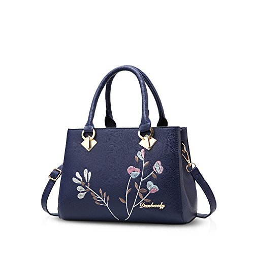 Top amp;DORIS Leather Women Blue Tote Bag PU Handbags Handle Shoulder Crossbody NICOLE Bag Purse Retro Blue qBtStT