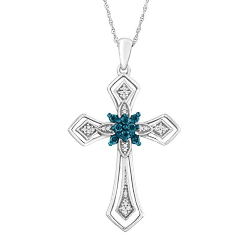 1/4 ct Blue & White Diamond Cross Pendant Necklace in 10K White Gold (1/4 Ct Diamond Cross Pendant)
