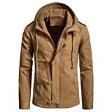 WEEN CHARM Men's Cotton Lightweight Zip Up Hooded Jacket Windbreaker Army Anorak Parka Hoodie Jacket with Drawstring