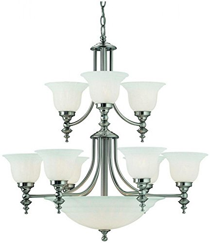 - Dolan Designs 664-09 Richland 14 Light 2 Tier Bowl Chandelier, Satin Nickel