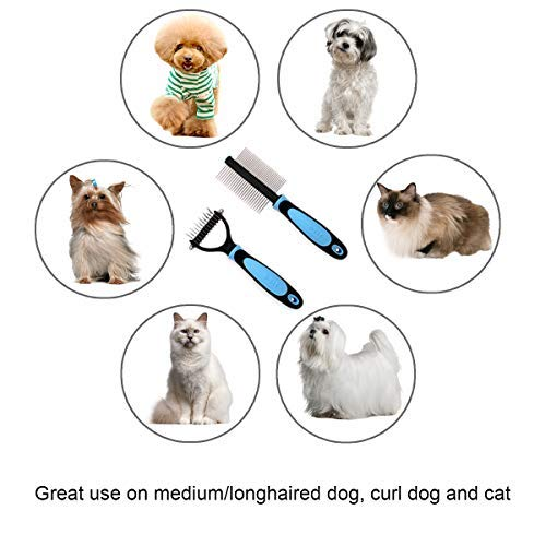 SHD Pet Grooming Tool Kit Double Sided Dematting Rake and Deshedding Comb for Medium/Longhaired Curl Dog, Cat - 2 Pack