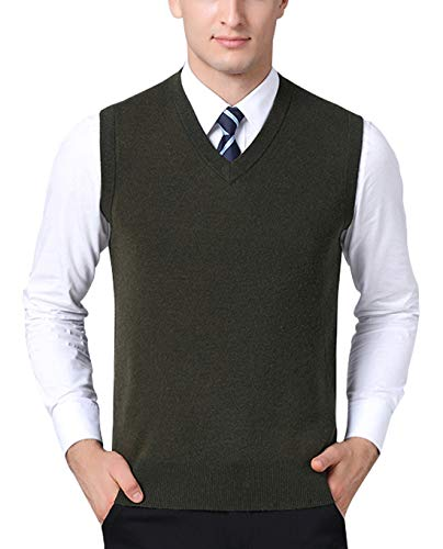 - chouyatou Men's Solid Classic Sleeveless V-Neck Knitted Pullover Layer Sweater Vest (X-Large, Army Green)