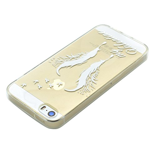 Hülle iPhone SE 5 / 5S, IJIA Ultra Dünnen Weiß Feder TPU Weich Silikon Handyhülle Schutzhülle Handyhüllen Schale Cover Case Tasche für Apple iPhone SE 5 / 5S + 24K Gold Aufkleber