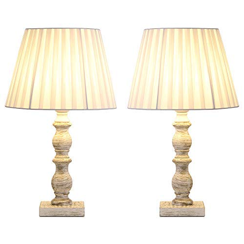HAITRAL White Bedside Table Lamps - Set of 2 Vintage Elegant Nightstand Lamps Light Fabric Shade Wooden Base, Classic Lamps Girls Room, Bedroom, Family Room, Den - White