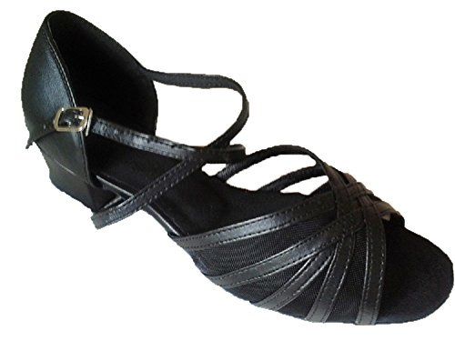 WDS Ladies Black Leather & Mesh Dance Shoes/Sandals For Line, Latin, Ballroom, Jive, Salsa & Tango UK 3-8 (167003)