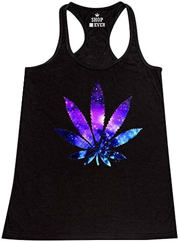 Shop4Ever® Marijuana Leaf Galaxy Women's Racerback Tank Top Weed Stoner Tank Tops X-Large Black (Hippie Acc)