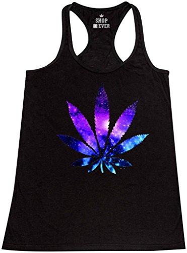 Shop4Ever-Marijuana-Leaf-Galaxy-Womens-Racerback-Tank-Top-Weed-Stoner-Tank-Tops-X-Large-Black-61367