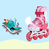 YANGXIAOYU Adult Beginners Children's Inline Skates, Professional Roller Shoes, Anti-Collision Shock All Flash Wheel, Helmet + Protective Gear, Blue Red Pink