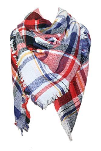 - Warm Long Tartan Shawl Womens Wraps Tassels Large Scarves Knit Cashmere Feel Plaid Triangle Pashmina Scarf