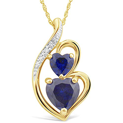 Lab Created Blue Sapphire Heart Necklace in 10k Yellow Gold with Diamond Accent Diamond Sapphire Heart Necklace