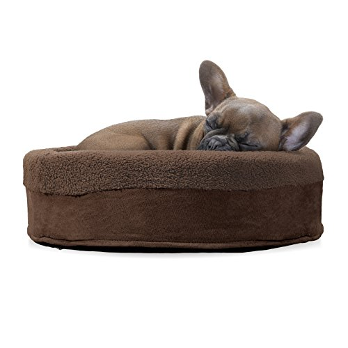 (FurHaven Pet Dog Bed | Terry & Suede Cup Pet Bed for Dogs & Cats, Espresso, 18-Inch Round)
