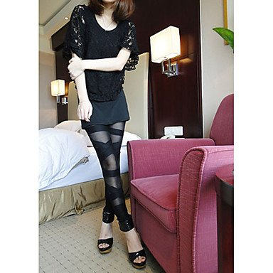 BuW Half Sheer Bandage Slim Legging(Waist:56-100cm), leggings, jeggings, pants, tights, printed leggings, yoga leggings