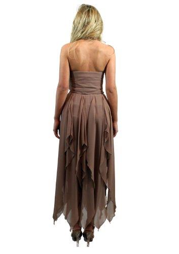 exklusives Abendkleid by HEINE mit Zipfelvolant aus luftigem Chiffon Farbe taupe