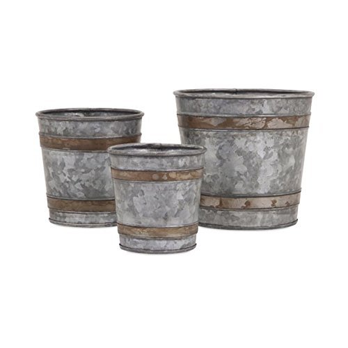 Cheap  Imax 84859-3 Becki Galvanized Pots Set of 3 - Lightweight Bucket Planter..