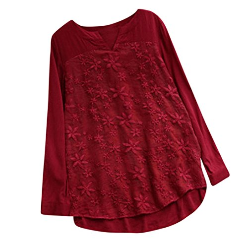 VEZAD Long Sleeve Tops for Women Floral Lace Embroidery Shirt Loose Baggy Blouse