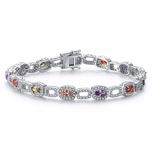 Gemstone Multi Colored Bracelet (Caperci Silver Halo Cubic Zirconia CZ and Colored Birthstone Multi-Gemstone Tennis Bracelet for Women, 7.25'')