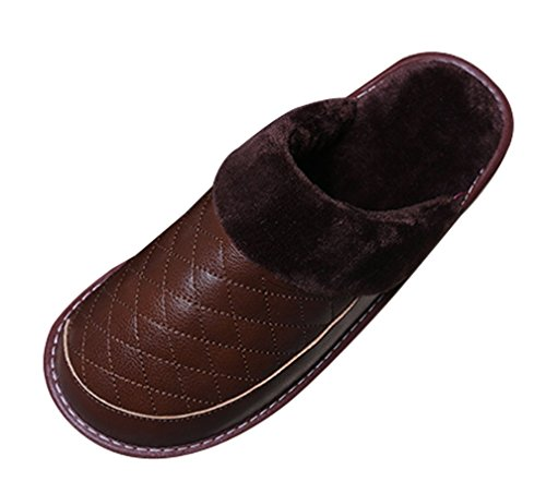 Cattior Mens Fur Lined Comfy Warm Leather Slippers House Slippers Light-brown yv1Wg
