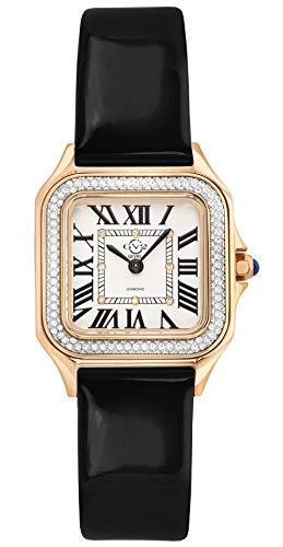 GV2 Women's Milan Gold Tone Swiss Quartz Watch with Patent Leather Strap, Black, 16 (Model: 12101)