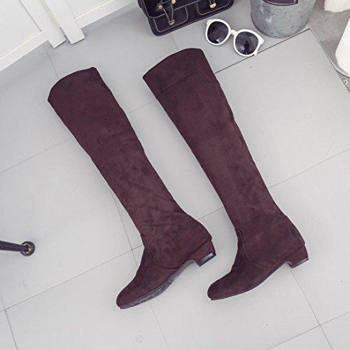 ESAILQ Boots Women Winter Flat Boots Shoes High Leg Faux Suede Long Boots Brown 9iZerRLSp