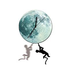 Iuhan Luminous moon Modern Stopwatch Home Decoration Clock Wall pendulum Timer (C)