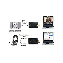 (5 Pack) 7.1 Channel USB External Sound Card Audio Adapter With Mic - Compatible With Windows XP/Vista/Windows 7/Windows 8