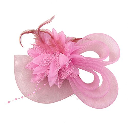 Clip Beaded Pink - Song Beaded Feather Hair Fascinator Hair Clip Headband Mess Wedding Cocktail Tea Party Hat Headpiece Pink