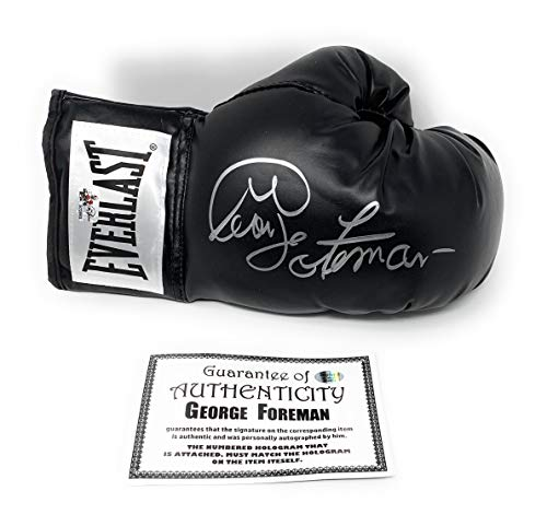 George Foreman Signed Autograph Boxing Glove Black Foreman Authentic Certified from Mister Mancave