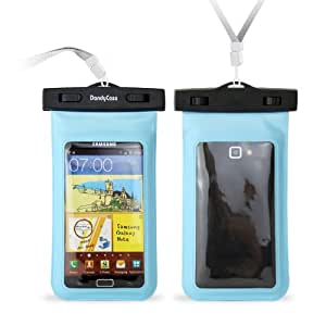 "DandyCase Blue Waterproof Case for Apple iPhone 5, Galaxy S4, HTC One, iPod Touch 5 - Also fits other Large Smartphones up to 5.3"" Including Galaxy S3, HTC One X/X+, Droid RAZR/MAXX, Nexus 4, EVO 4G LTE, Droid Incredible, LG Optimus G, Nokia Lumia, Droid DNA, Windows Phone 8X - IPX8 Certified to 100 Feet [Retail Packaging by DandyCase]"