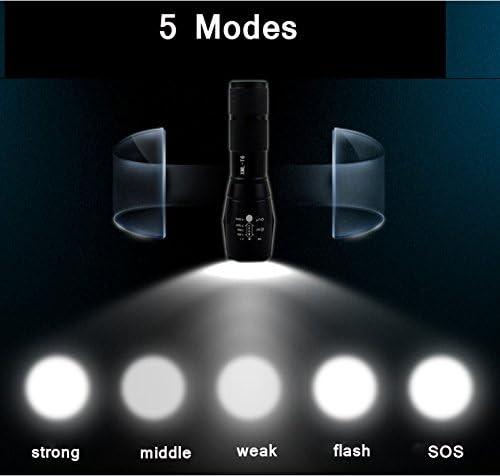 LED linterna recargable, Antorcha Táctica Militar Pequeña Linterna de Mano, Max 1200 LM, Alta Potencia Antorcha, 5 Modos Ajustable Impermeable de Mano ...
