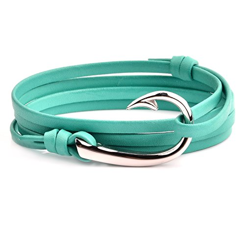 (West Coast Jewelry | Crucible Stainless Steel Fish Hook Clasp Turquoise Leather Wrap Bracelet)